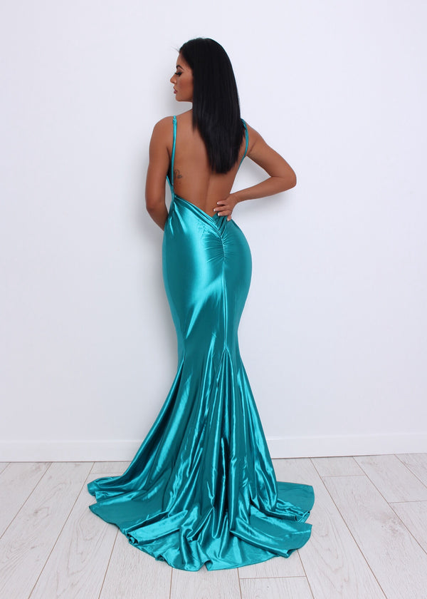 'Love Affair' Satin Gown with Ruched Back - Turquoise