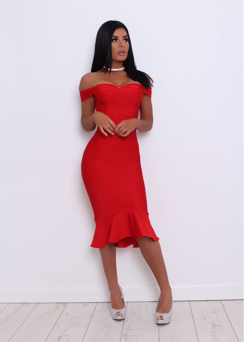 'One Kiss' Bandage Dress - Red