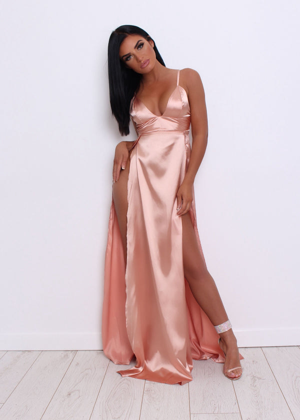 Split Decision Satin Gown - Peach
