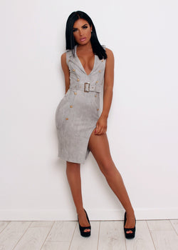 'Sassy In Suede' Bodycon Dress - Grey