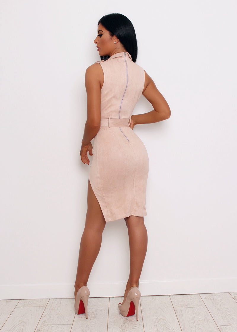 'Sassy In Suede' Bodycon Dress - Nude