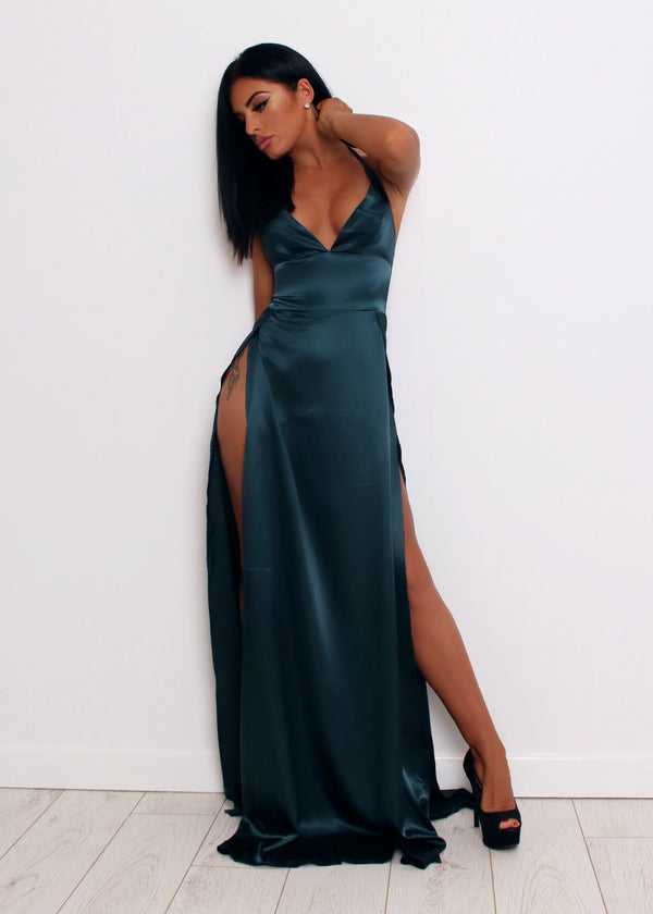 Split Decision Satin Gown - Dark Green