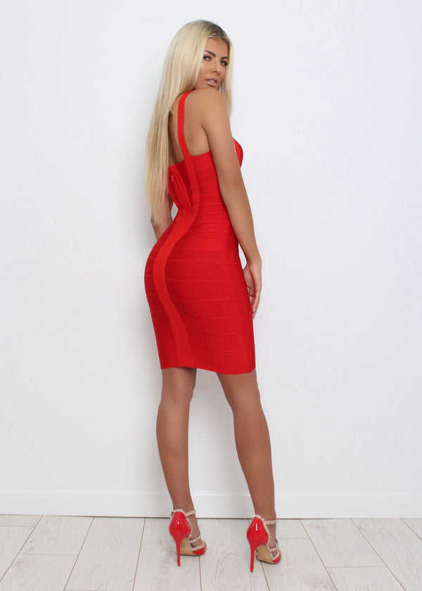 Godiva Bandage Dress  - Red