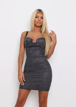 Shimmer Fizz Lurex Dress - Black