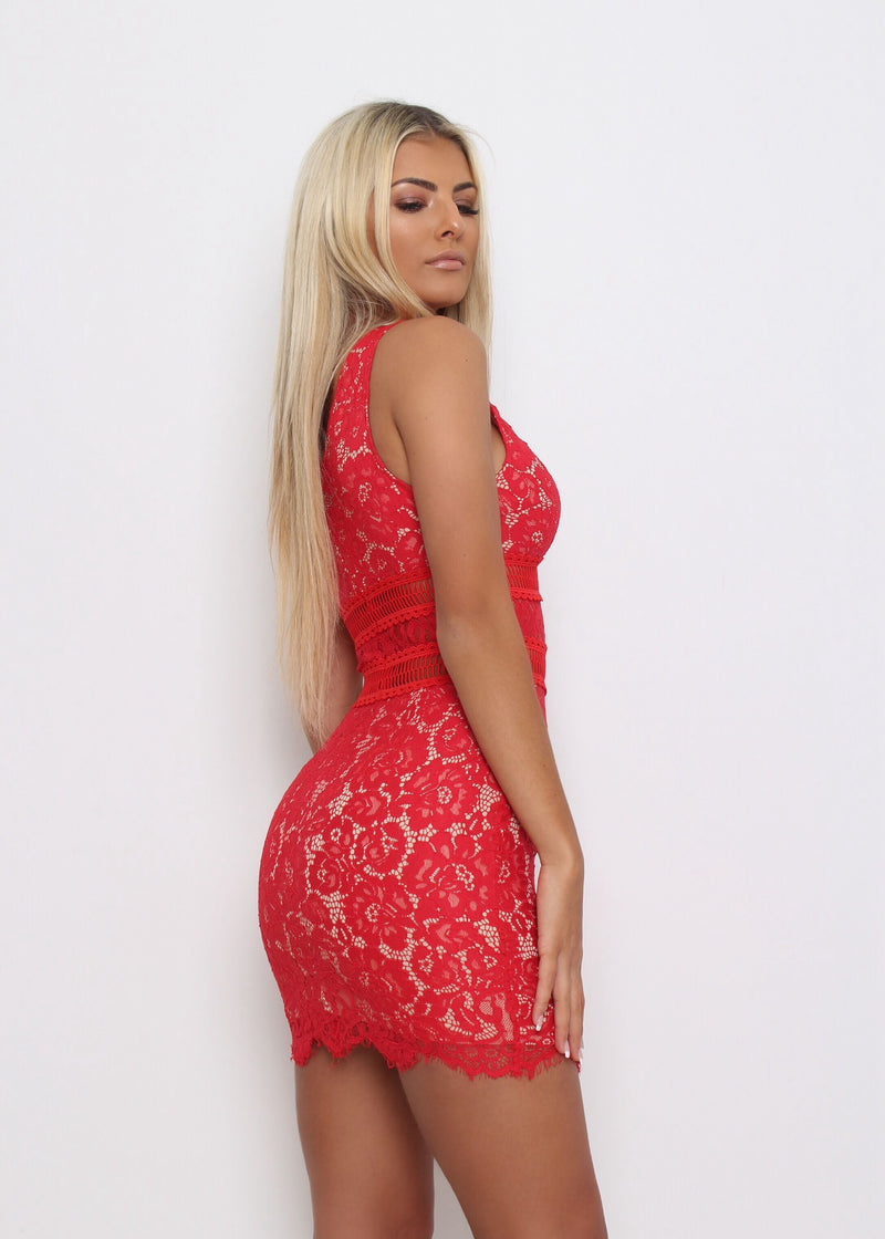 Vermont Lace Dress - Red