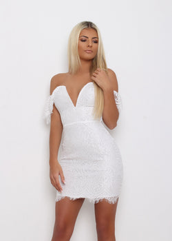 Laced with Love Bardot Dress - White