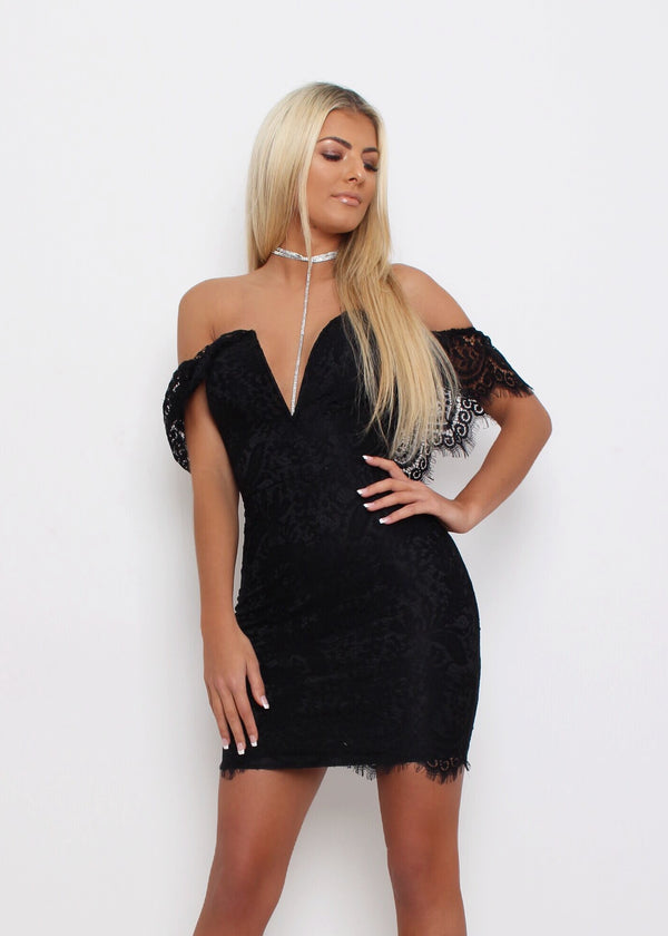 Laced with Love Bardot Dress - Black
