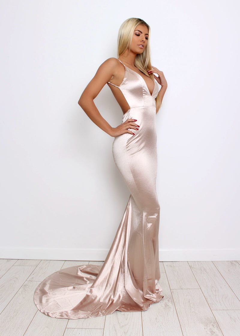 'Love Affair' Satin Gown with Ruched Back - Champagne