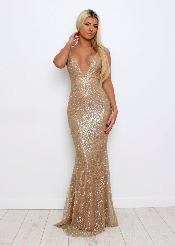 'SOHO' Glitter Gown - Gold