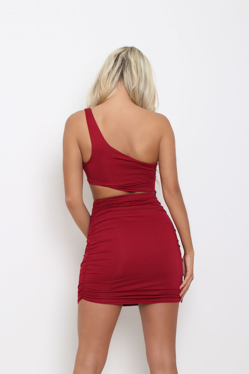 Cut It Out One Shoulder Dress - Wine