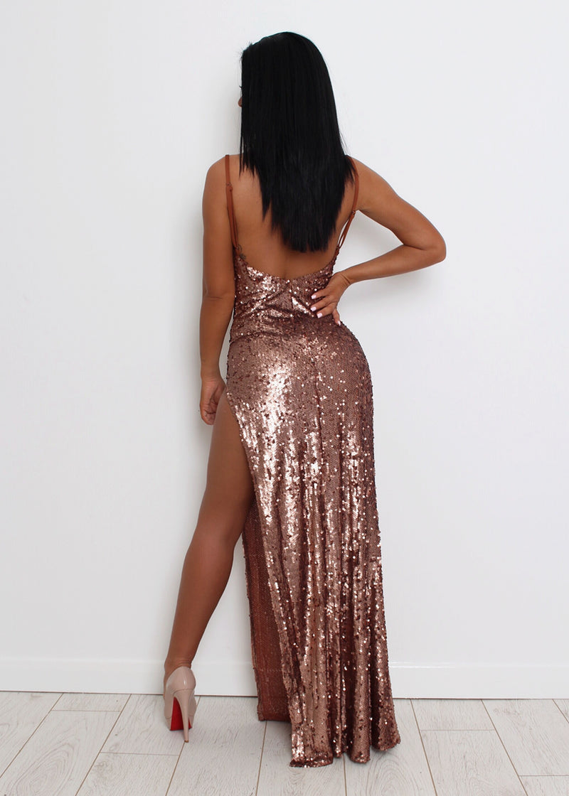 Bronzed Beauty Sequin Dress