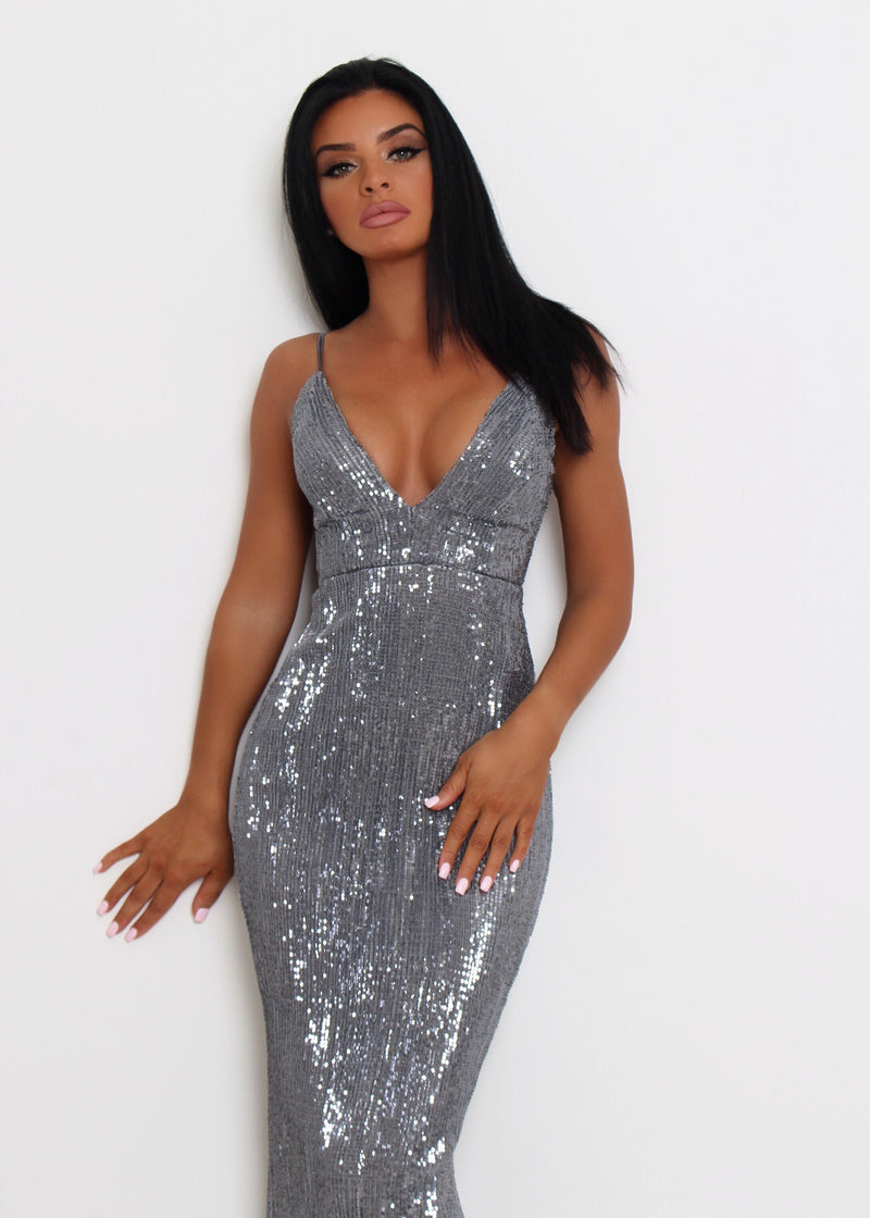 'Frozen Heart' Sequin Gown - Grey