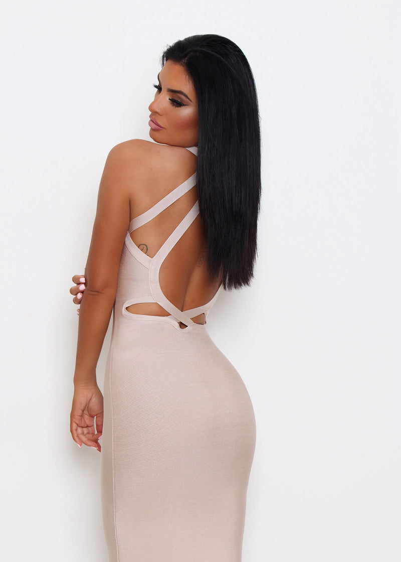 Sassy And Sweet Bandage Dress - Nude