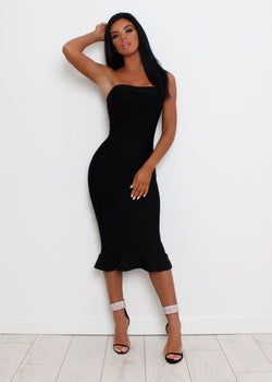 Imogen Fluted Hem Bandage Dress - Black