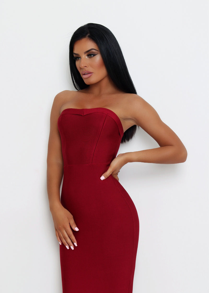 Imogen Fluted Hem Bandage Dress - Wine