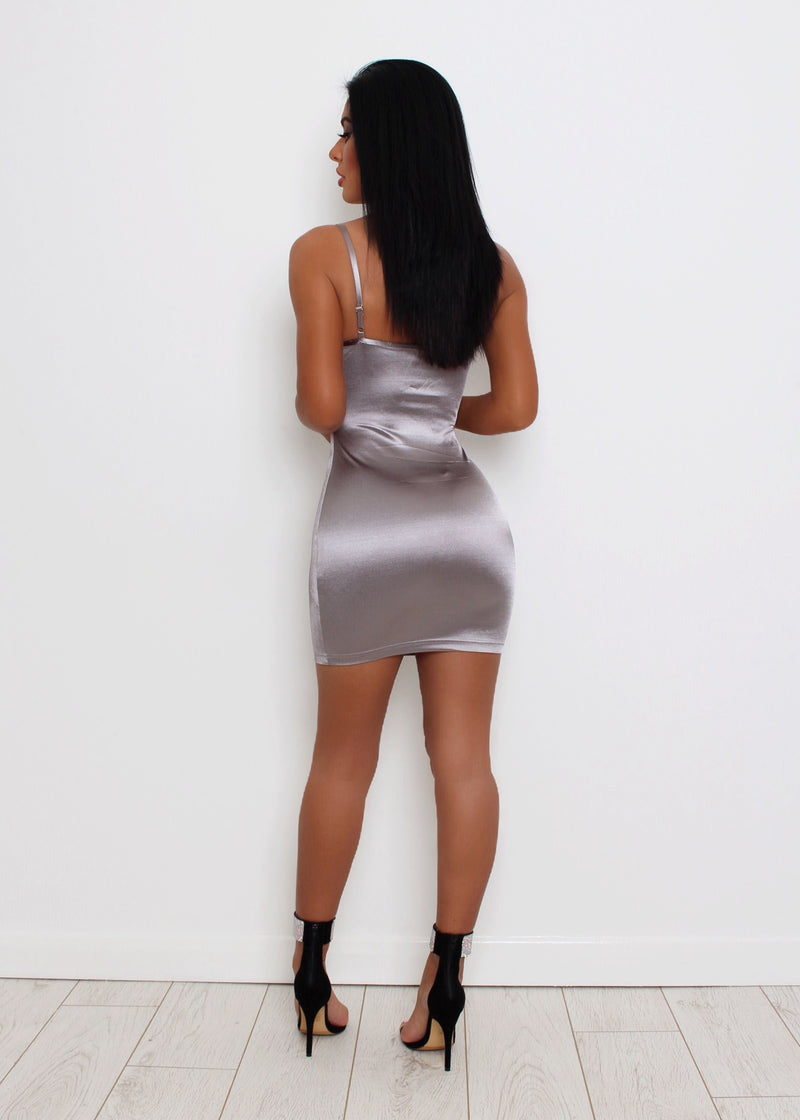 Bombshell Satin Dress - Grey
