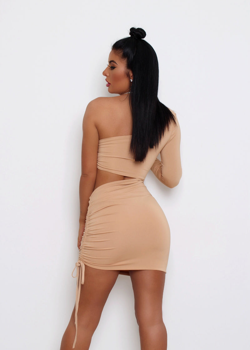 Make the Cut One Shoulder Dress - Nude