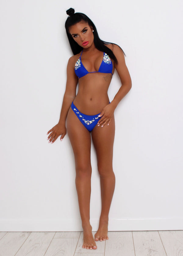 'Costa Blanca' Jewelled Bikini Set - Cobalt  Blue