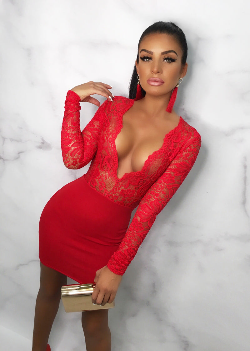 Candy Love Lace Bodycon Mini Dress - Red