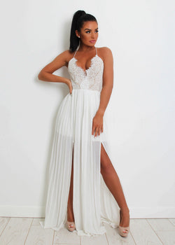 'Goodnight Kiss' Lace Maxi Dress - White