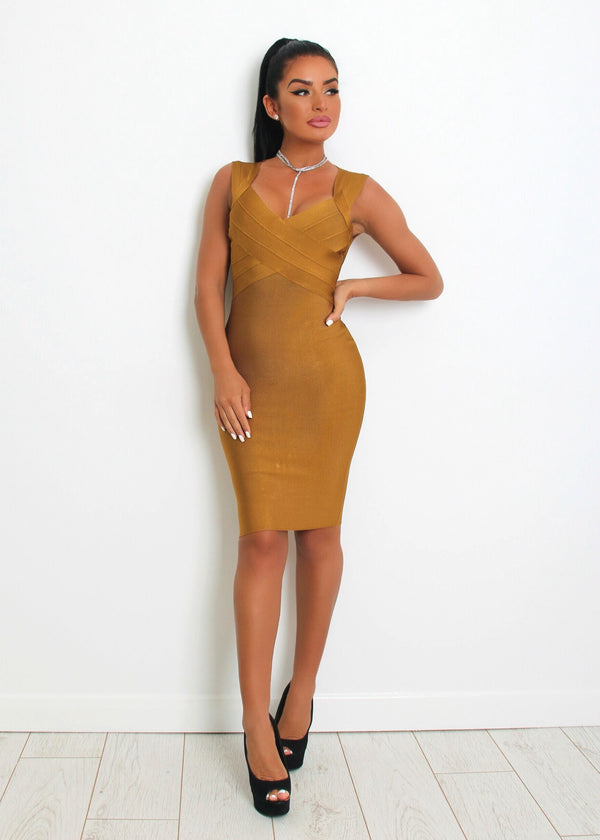 'High Hopes' Bandage Dress - Camel