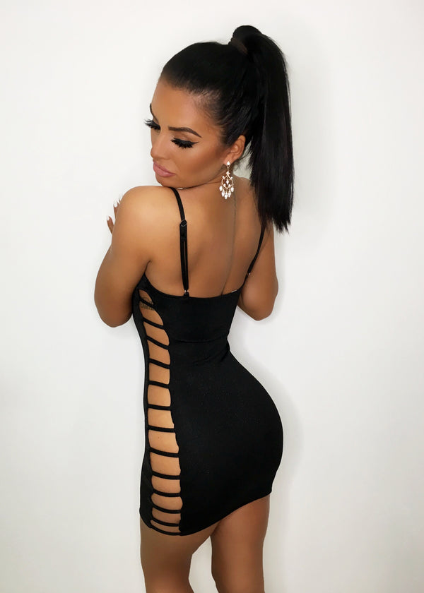 Get In Line Bodycon Dress - Black