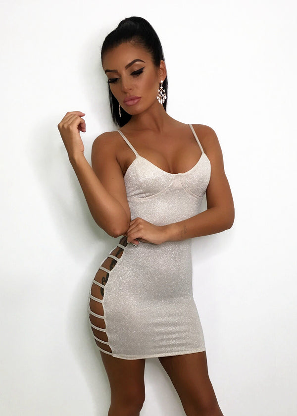 Get In Line Bodycon Dress - Nude