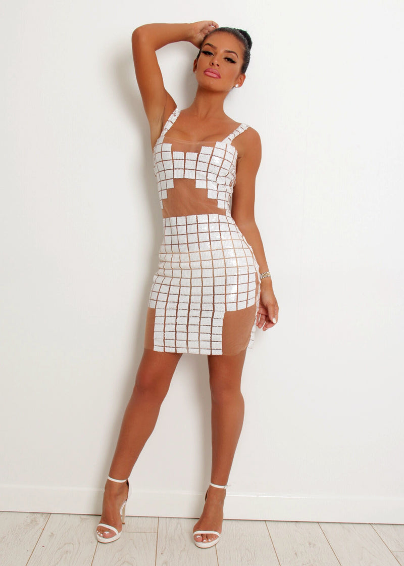'Born to be Glam' Sequin Mesh Dress - White