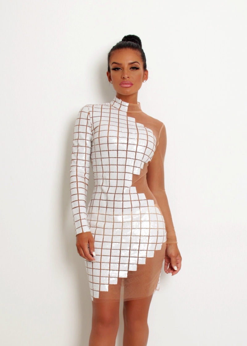 'A Million Dreams' Sequin Mesh Dress - White