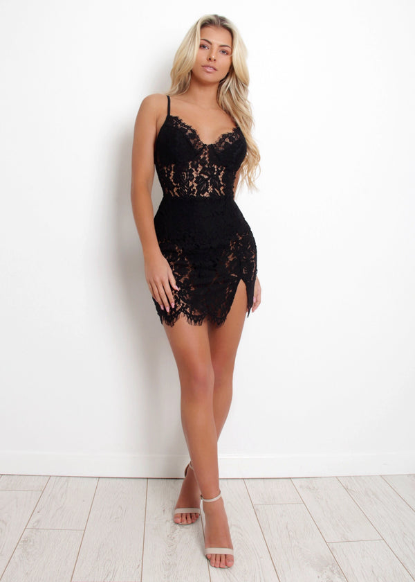 Sheer Perfection Lace Dress - Black