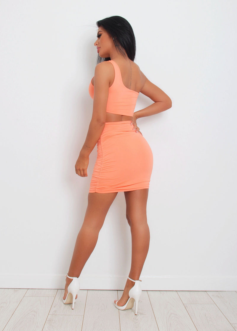 Cut It Out One Shoulder Dress - Orange
