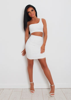 Cut It Out One Shoulder Dress - White XS  XL