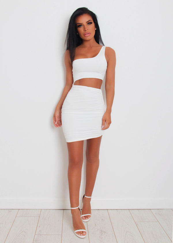 Cut It Out One Shoulder Dress - White