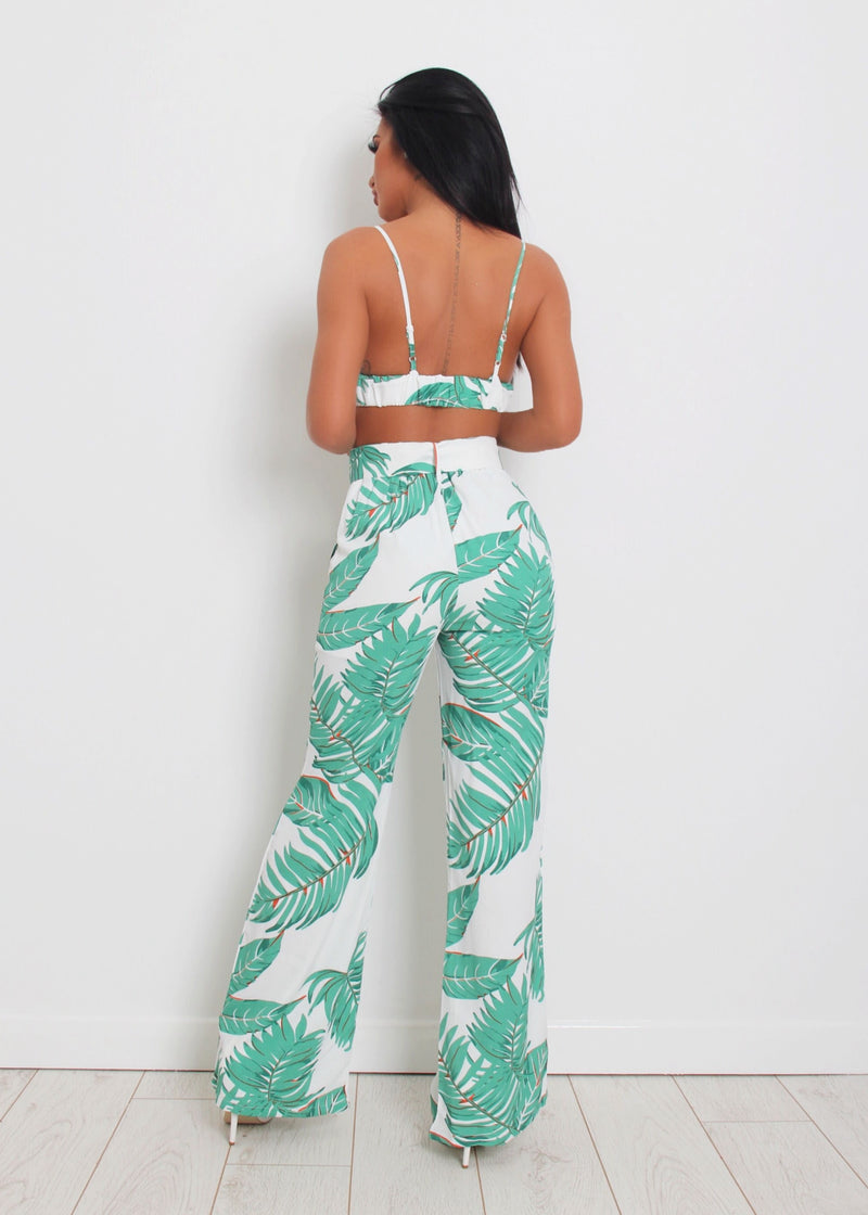 Cabana Tropical Print Two Piece - Green & White