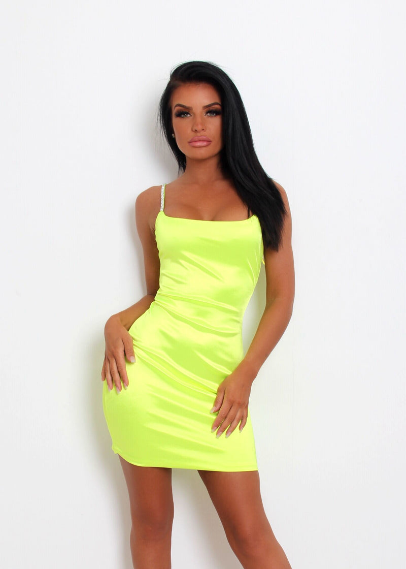 3318a88a On the Bright Side Satin Dress - Neon Green – Dressmezee