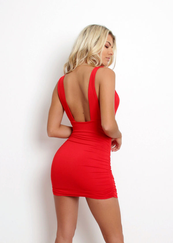 Deep Into You Low Cut Dress - Red