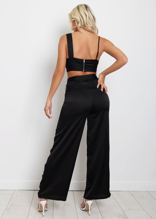 Charged Up Satin Two Piece - Black
