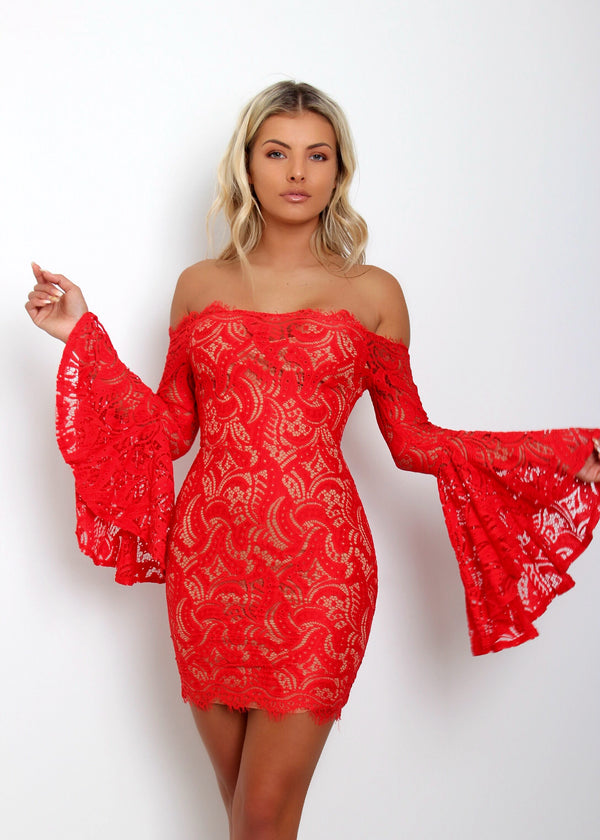 'Gardenia'' Off The Shoulder Dress - Red