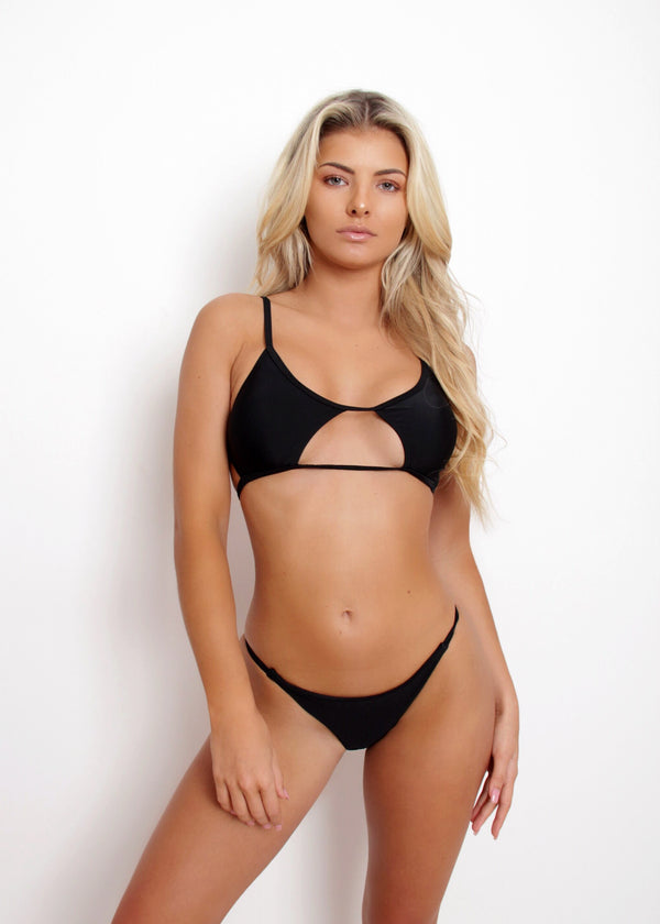Beach Bum Cut Out Bikini Set - Black