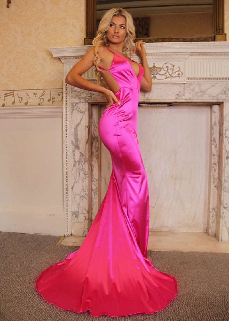 'Touch of Glamour' Satin Gown with Side Slit - Hot Pink