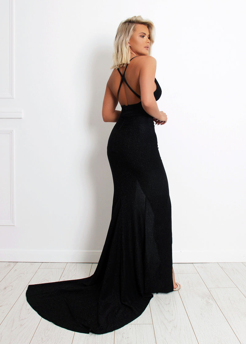 'Happily Ever After' Lurex Gown with Slit - Black