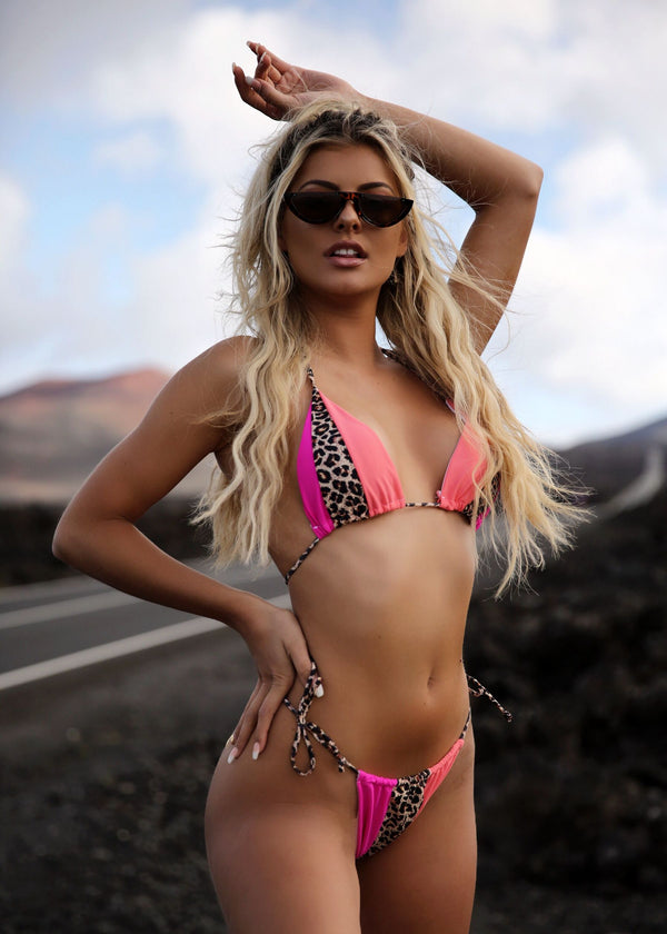 Tri-Hard Animal Print Bikini - Peach