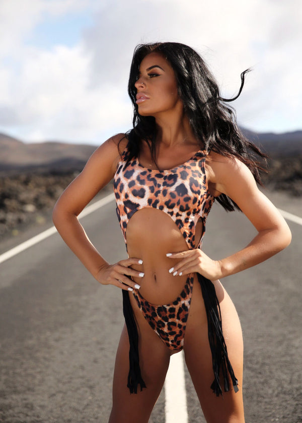No Hassle Cut Out Swimsuit - Leopard Print
