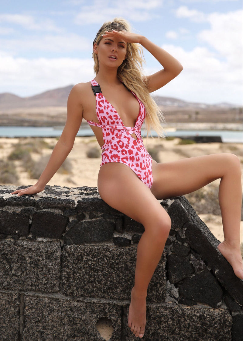 Brace Yourself Buckled Swimsuit - Pink