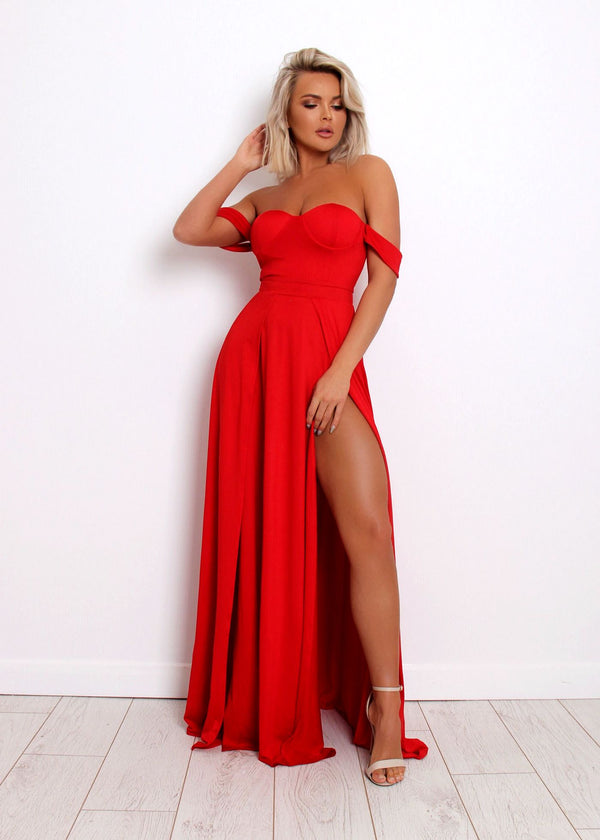 Ruby Bustier Dress - Red
