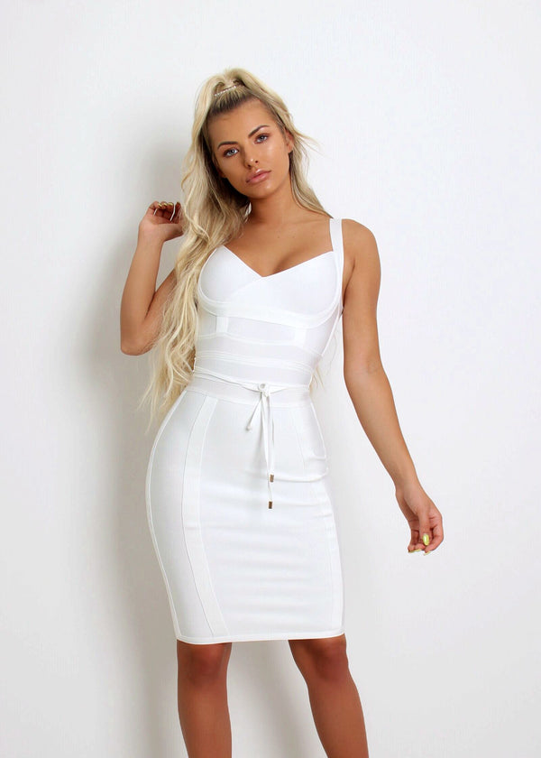 VIP Lounge Bandage Dress  - White