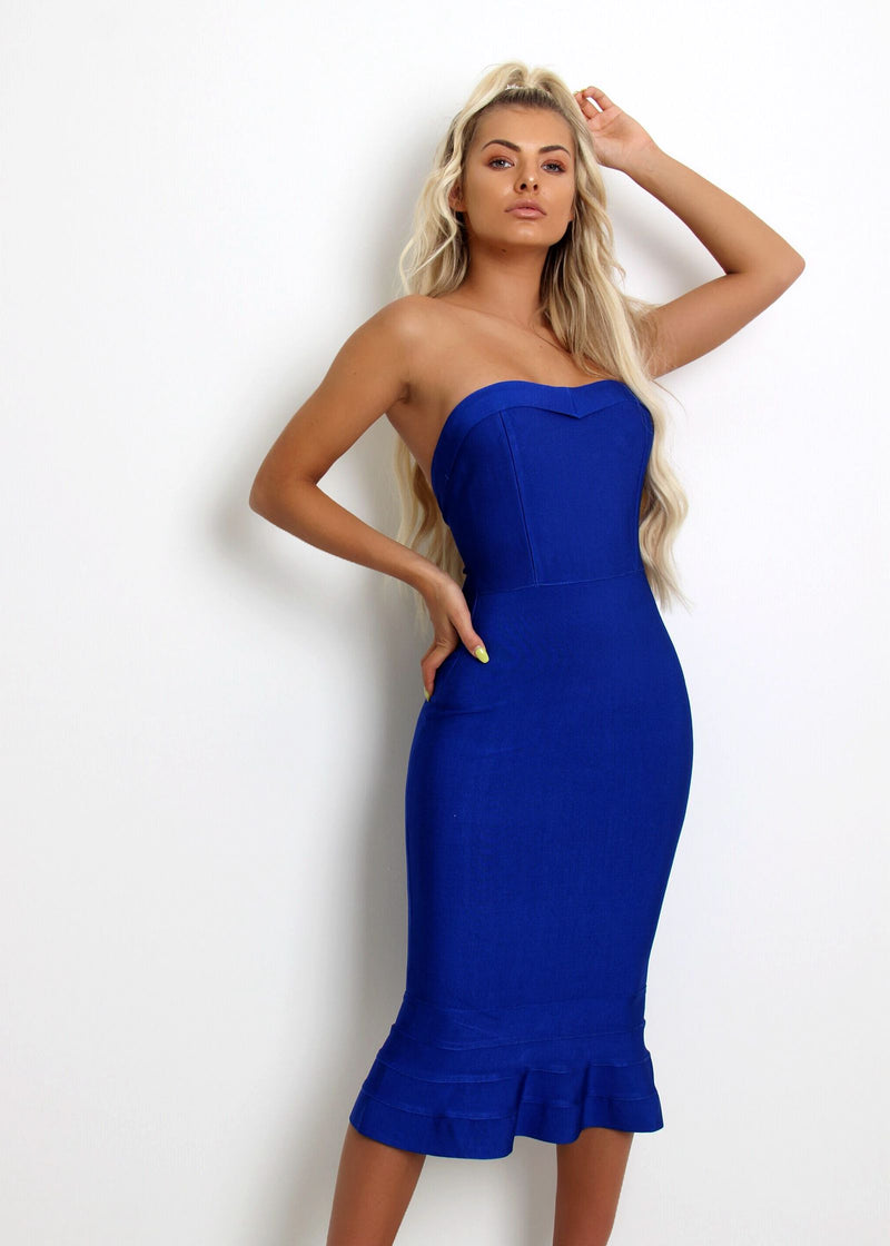Imogen Fluted Hem Bandage Dress - Cobalt Blue
