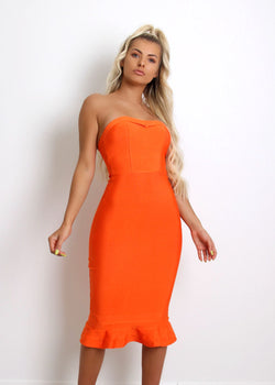 Imogen Fluted Hem Bandage Dress - Orange