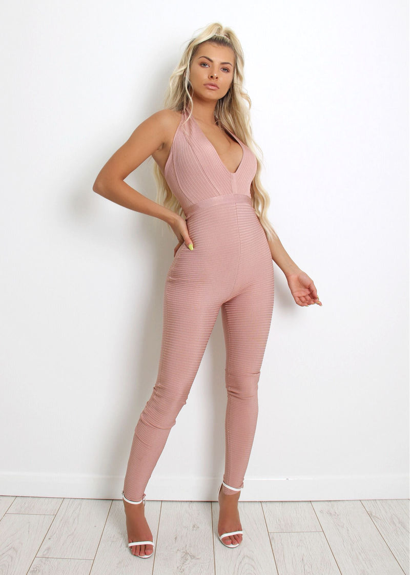 Sweet Little Lines Bandage Jumpsuit - Mauve