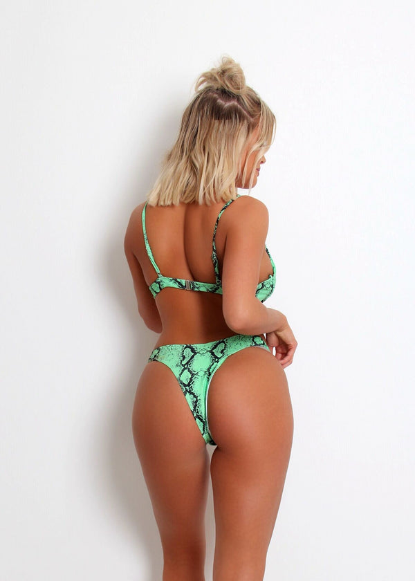 'By My Side' Bikini Set - Green Snake Print